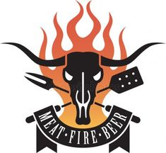 Illustration of Barbecue Logo featuring a cow skull and crossed untensils with flames and a banner proclaiming the holy triumvirate of barbecue: meat, fire and beer. vector art, clipart and stock vectors. Bbq Logo, Grill Logo, Bbq Grill, Carne Asada, Barbacoa, Carnes Premium, Bike Garage, Rv Solar Panels, Barbecue Design