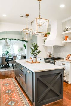 Kitchen - Christmas Home Tour 2020 - Farmhouse Living - Modern Farmhouse Kitchen - Sherwin Williams Iron Ore - Herringbone Back Splash - Gold Pendants - Gold Hardware