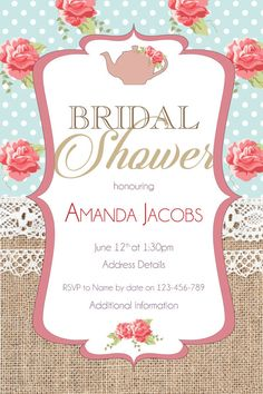 Kitchen Tea Invitation  Bridal Shower Tea Invitation  Purple