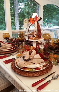 Table Ideas for Fall-Autumn with red flatware from Between Naps on the Porch.