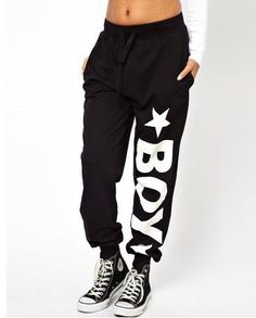 Plus size punk pants with london BOY printed black active stlye and  drawstring decoration free shipping 45bea0981