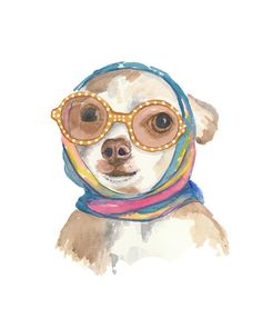 5x7 Watercolor PRINT - Dog Watercolour, Chihuahua Painting, Glamour, Vintage Scarf, 5x7 Print