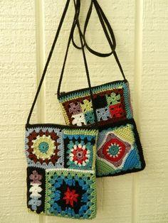 Items similar to Granny Square Patchwork Bag on Etsy – Hakeln Crochet Handbags, Crochet Purses, Crochet Bags, Crochet Granny, Knit Crochet, Gypsy Bag, Patchwork Bags, Knitted Bags, Handmade Bags