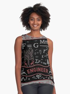 'Engineer Ugly Christmas Day Clothing' Sleeveless Top by Teenage Age, Top Christmas Gifts, Homemade Christmas, Free To Use Images, Best Tank Tops, Good And Cheap, Being Ugly, Tank Man, Engineer