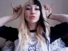Black hair with blonde bangs and highlights hair pinterest white hair with black streak i loooove pmusecretfo Images