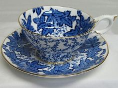 Vintage Fancy Coalport Cup and Saucer in White and Cobalt
