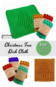 Free Crochet Pattern: Christmas Tree Dish Cloth | Pattern Paradise