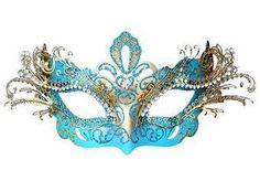 Máscara azul e dorado