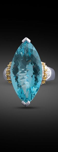 This 12.81-carat aquamarine and .33 carats of cognac and white diamonds make a bold statement ~ M.S. Rau Antiques