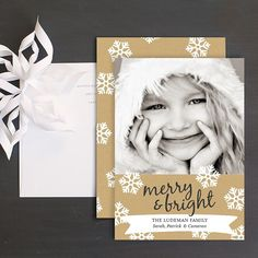 Bright Snowflakes Christmas Photo Cards by Elli