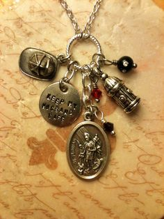 'Keep My Husband Safe' Hand-Stamped Firefighter Charm Necklace |  Shared by LION