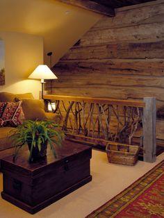 log cabin house interior, stair, loft railing ideas, loft style, branch, log cabin in woods