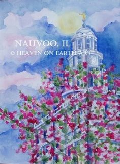 Watercolors Bright and Beautiful Mormon Temples, Lds Temples, Nauvoo Illinois, Nauvoo Temple, Temple Pictures, Temple Wedding, Hand Painting Art, Latter Day Saints, Heavenly