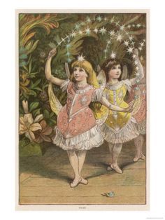 An poster sized print, approx (other products available) - circa Two young girls perform on stage, dressed as Christmas fairies, in a scene from & (Photo by Hulton Archive/Getty Images) - Image supplied by Fine Art Storehouse - Poster printed in Australia Fairy Land, Fairy Tales, Vintage Images, Vintage Art, Vintage Prints, Fine Art Prints, Framed Prints, Canvas Prints, Christmas Fairy