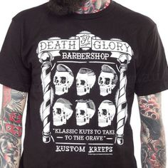 Kustom Kreeps Death Or Glory Barbershop Men's T-Shirt $30
