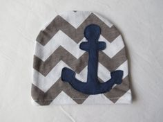 Newborn Boy Hat- Baby Hat- Hospital Hat- Going Home Hat- Infant- Baby- Photo Prop- Lilcleo- Gray Chevron with Navy Anchor