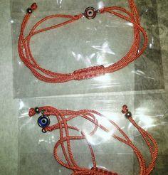 Lot de 2 bracelets fil rouge avec oeil