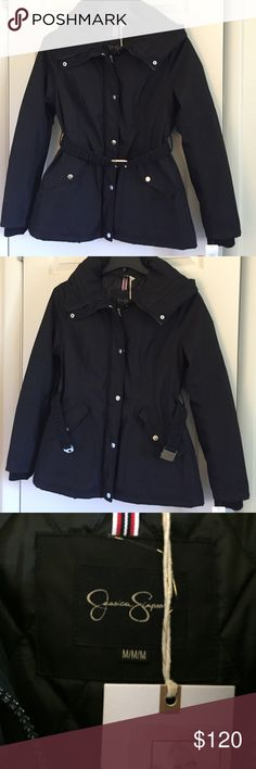 Brand new Jessica Simpson women coat size M Shell 100% polyester Lining 100% polyester Filler 100% polyester  Faux fur face 100% acrylic  Backing 109% polyester Knit trim 109% polyester Jessica Simpson Jackets & Coats