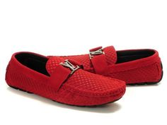 Louis Vuitton LV Initials Red Men's Pane Leather Loafers Shoes - 280.99 $