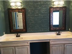 A beautiful bathroom accent wall painted with the French Poem Allover Stencil, a typography wallpaper pattern, from Cutting Edge Stencils. http://www.cuttingedgestencils.com/french-typography-letter-wall-stencil.html