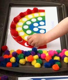Printables for pom pom activities for kids kids-crafts Kids Crafts, Craft Activities For Kids, Preschool Activities, Motor Activities, Cookie Sheet Activities, Wood Crafts, Toddler Learning Activities, Activity Ideas, Toddler Crafts