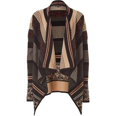 ETRO Camel And Fir Green Patterned Open Cardigan ($1,350) ❤ liked on Polyvore