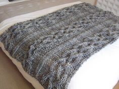 Chunky hand knitted cable blanket by lavenderbabiesjulia on Etsy, [[I need to learn to do this!!]]