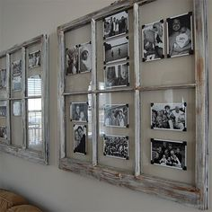 Repurpose Old Windows With These 3 Easy DIYs Old wood windows can serve a purpose in your home. From wall art to picture frames, you can repurpose old windows to create a unique style in your home. Window Pane Picture Frame, Rustic Window Frame, Wooden Window Frames, Window Wall Decor, Old Picture Frames, Frames On Wall, Picture Wall, Window Frame Ideas, Photo Window
