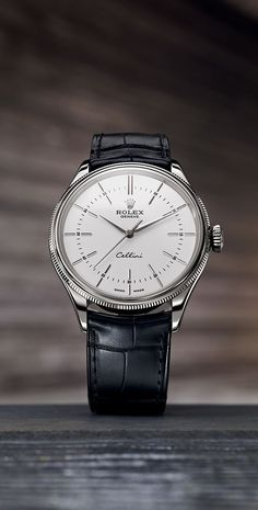 The new Rolex Cellini Time features a redesigned white lacquer dial with 12 elongated applique hour markers. #RolexOfficial #Baselworld2016: