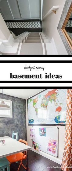Great article with budget conscious basement ideas. Basement renovations can be very expensive. This post has awesome tips for tackling a basement makeover with DIY projects and budget friendly materials and design ideas!! Complete source list is super helpful too!! from www.heatherednest...