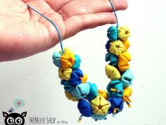 Polymer Clay Flower Power Necklace Blue and Yellow by MemecoShop