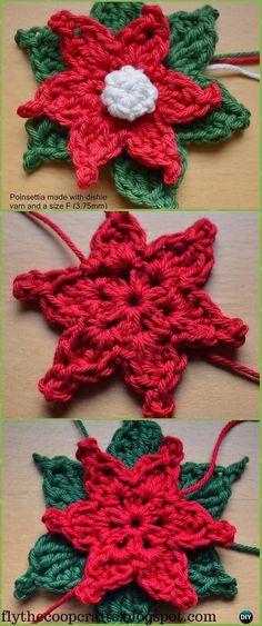 Crochet Poinsettia Motif Free Patterns - Crochet Poinsettia Christmas Flower Free Patterns