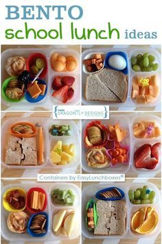 EasyLunchboxes Containers are perfect for packing yummy lunches for school work or travel. BPA-Free Easy-Open lids Not Leakproof. Get social - Share your lunches online with so we can feature them! Kids Lunch For School, Healthy School Lunches, Healthy Snacks, Healthy Recipes, Healthy Kids, Cold Lunch Ideas For Kids, Bento Box Lunch For Kids, Bento Lunchbox, Healthy Packed Lunches