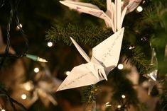 Wish-Filled Origami Cranes Adorn Christmas Tree - My Modern Metropolis