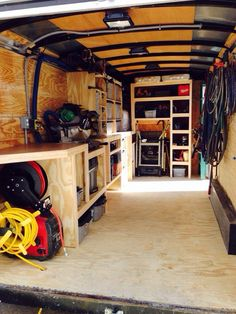 Job Site Trailers, Show Off Your Set Ups! - Page 73 - Tools & Equipment Job Site Trailers, Trailer Shelving, Van Shelving, Trailer Storage, Truck Storage, Work Trailer, Trailer Build, Van Storage, Tool Storage, Storage Ideas