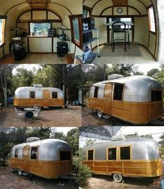 Woody!...Vintage Airstream skinned to match a Woody Wagon, and the interior to resemble a Northwoods Chalet.