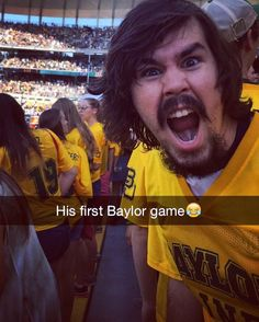 This is how you feel during the entire football game when you're part of the Baylor Line. #SicEm