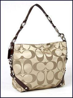 Coach Signature 24cm Sateen Carly Duffle Hobo Shoulder Bag Purse 15250 Khaki $260.00