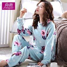 2cc42d61648 Junemaist Pyjamas Warm Long Sleeve Women Pajama Sets Cute Cartoon Sleepwear  Women Pyjama Femme Home Suit Lounge Flannel Pyjamas