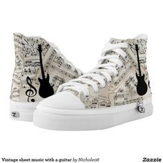 Vintage sheet music with a guitar High-Top sneakers Vintage Sheet Music, Vintage Sheets, High Top Chucks, High Top Sneakers, Music Silhouette, Painted Shoes, Custom Shoes, On Shoes, Converse Chuck Taylor