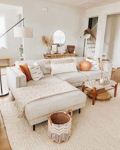 Boho Chic Living Room, Cozy Living Rooms, Living Room Interior, Apartment Living, Living Room Ideas, Living Room Decorations, Modern Living Room Designs, Living Room Vintage, Neutral Living Rooms