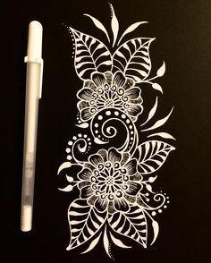 384 отметок «Нравится», 12 комментариев — Kristen Jones (@kjonesdesigns) в Instagram: « #gallery84» Black Paper Drawing, Floral Drawing, Henna Doodle, Doodle Art, Mandala Painting, Dot Painting, Flower Doodles, Pen Doodles, Art Room Posters