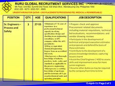 """URGENT HIRING FOR QATAR  – (NO PLACEMENT & PROCESSING FEE, MEDICAL is REIMBURSABLE)  Our Client, KENTZ Engineers & Constructors (POEA ACCREDITATION NO. 10193941), a member of the SNC-Lavalin Group, is now hiring """"QATAR SIDRA PROJECT,"""" as follows:  Sr. Engineers – Process and Safety 27-55  Minimum of 7-8 years of experience specification design and checking in an engineering consultancy or EPC company within the oil & gas industry  BSEng or equivalent Chemical Engineering Degree"""