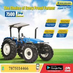 New Holland 7500 Turbo Super 4WD ✔️HP: 75HP ✔️No. of cylinder: 4 Cylinder ✔️Gear Box Type: 8 Forward + 2 Reverse पूरी जानकारी मिलेगी यहाँ ➡️ #KhetiGaadi #BuyTractor #NewHolland7500 #TractorPrice