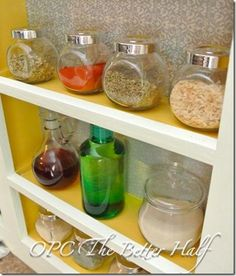 Something like this as a shelf for all the little containers of craft supplies (buttons, ribbon, brads, etc)
