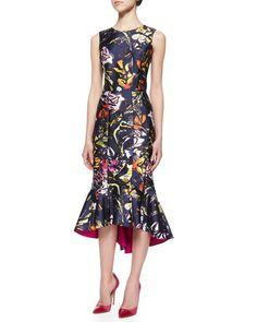 B2YQG Oscar de la Renta Abstract Floral-Print High-Low Flounce Hem Dress