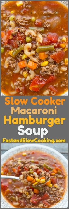ThisSlow Cooker Macaroni Hamburger Soup Recipe will make everyone at the dinner table happy when it's suppertime! This recipe is large enough for leftovers the next day - if you can resist eating two bowls! #crockpot #hamburger #recipe #supper #dinner #slowcooker #soup