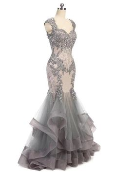 Elegant Grey Cap Sleeves Evening Dress, Lace Beaded Long Mermaid Prom sold by Prettyprom on Storenvy Evening Dresses With Sleeves, Mermaid Evening Dresses, Formal Evening Gowns, Beaded Evening Gowns, Pretty Dresses, Beautiful Dresses, Beautiful Evening Gowns, Beaded Prom Dress, Dress Lace