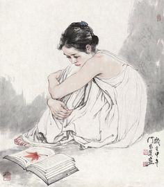 Thư Viện Tranh Ảnh/ trích 5 album: Atsushi Suwa/ Daria Petilli/ He Jiaying/ Egon Schiele/ Agata Wierzbicka Korean Painting, Chinese Painting, Japanese Prints, Japanese Art, Ink Painting, Watercolor Art, China Art, Korean Art, Cool Drawings