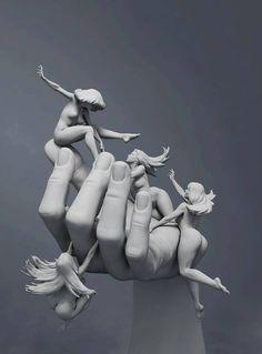 """Ésta escultura está basada en una pintura de Frank Frazetta. LLamada """"Reassembled man"""""""